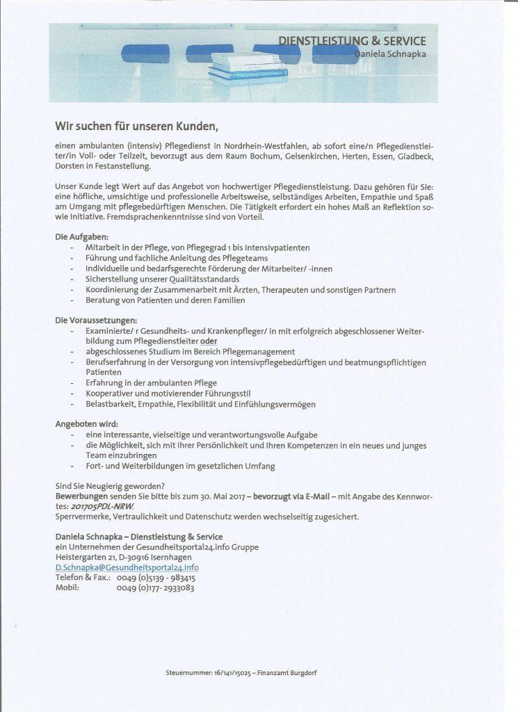 Stellenausschreibung: Pflegedienstleitung NRW gesucht